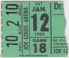 1980 Detroit Red Wings ticket stub vs Hartford Whalers
