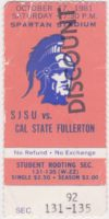 1981 NCAAF San Jose State ticket stub vs Fullerton