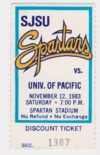 1983 NCAAF San Jose State ticket stub vs UOP