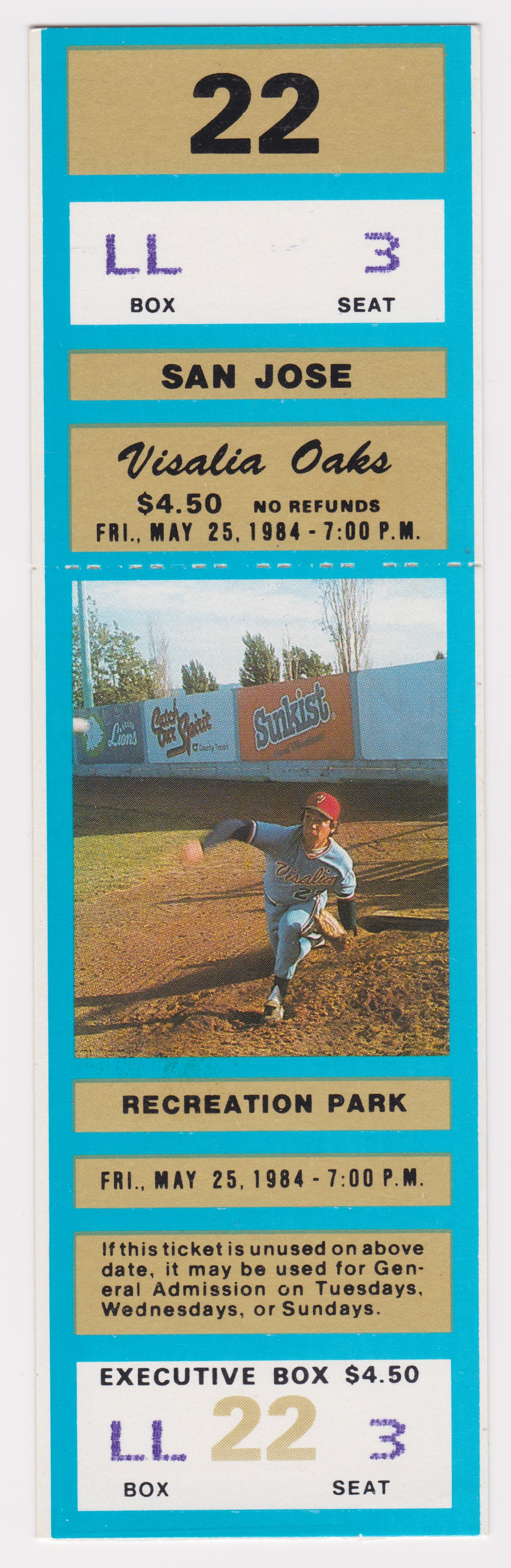 1984 Visalia Oaks ticket stub vs San Jose Bees