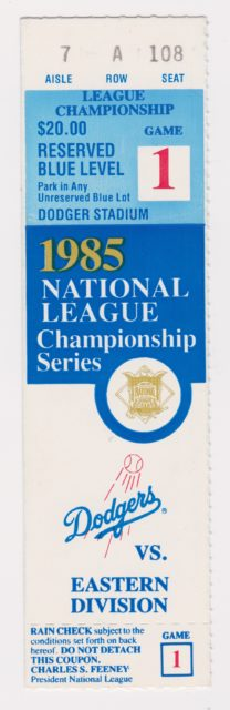 1985 NLCS Game 1 ticket stub Dodgers vs Cardinals