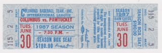 1987 Columbus Clippers ticket stub vs Pawtucket Red Sox