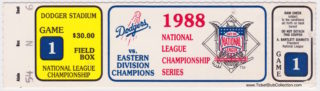1988 NLCS Mets at Dodgers Game 1 ticket stub