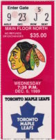 1989 Chicago Blackhawks ticket stub vs Toronto