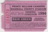1994 Prince William Cannons ticket stub