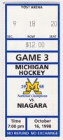 1998 NCAAMH Michigan ticket stub vs Niagara