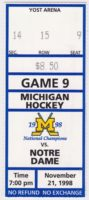 1998 NCAAMH Michigan ticket stub vs Notre Dame