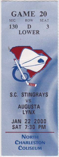 2000 South Carolina Stingrays ticket stub vs Augusta Lynx