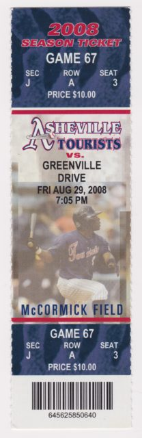 2008 Asheville Tourists ticket stub vs Greenville