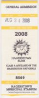 2008 Hagerstown Suns ticket stub vs Delmarva Shorebirds