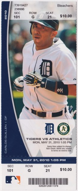 2010 Detroit Tigers ticket stub vs A's