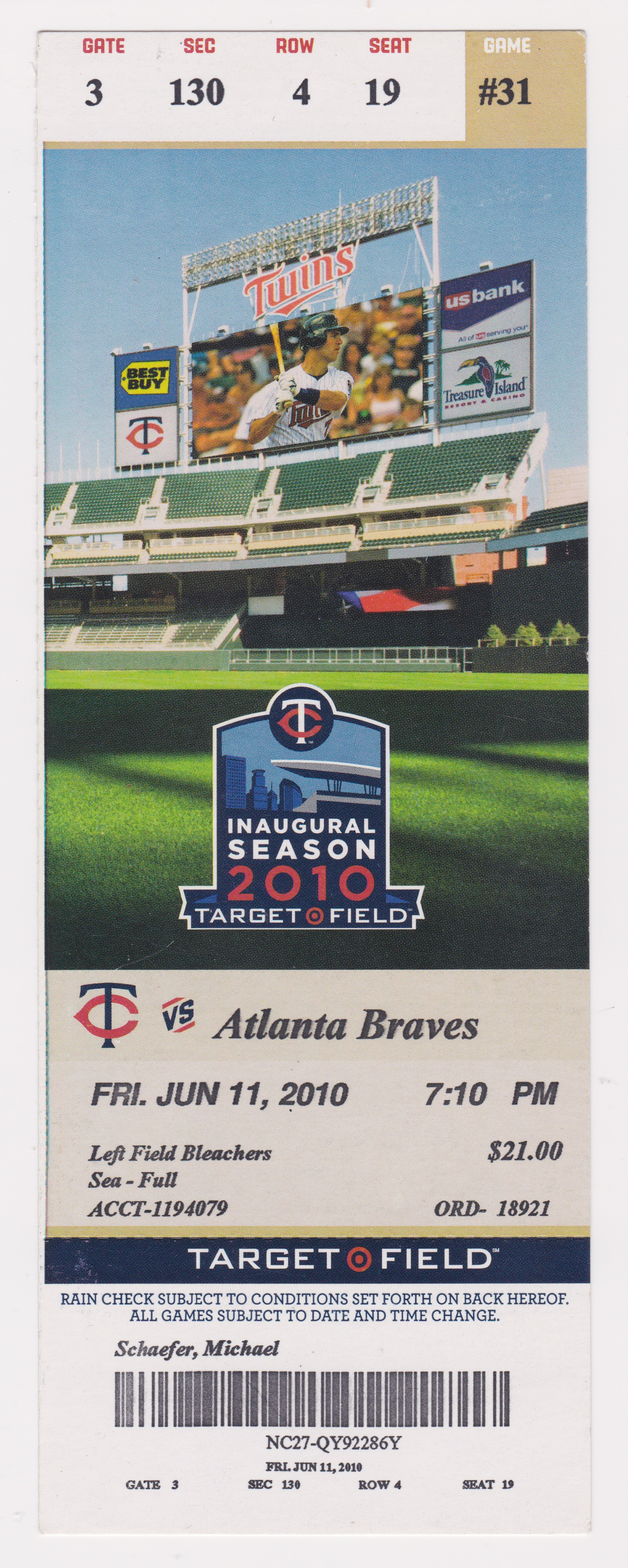 2010 Minnesota Twins ticket vs Atlanta Braves