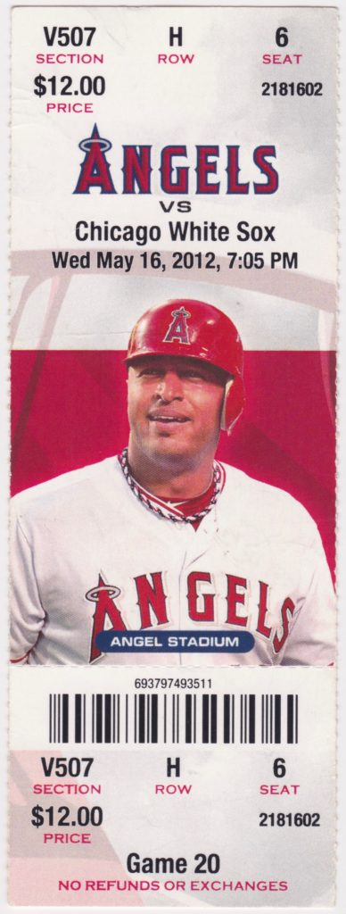 2012 Los Angeles Angels ticket stub vs White Sox