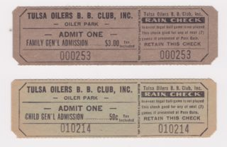 Texas League Tulsa Oilers ticket stubs