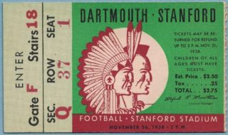 1938 NCAAF Stanford ticket stub vs Dartmouth