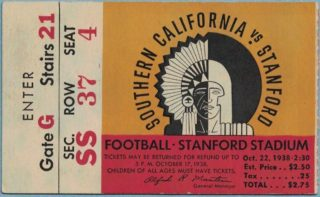 1938 NCAAF Stanford ticket stub vs USC