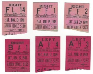 1948-49 AHL St Louis Flyers ticket stubs