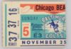 1962 NFL Baltimore Colts ticket stub vs Chicago