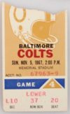 1967 NFL Baltimore Colts ticket stub vs Green Bay