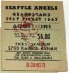 1967 Seattle Angels Grandstand ticket stub