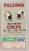 1968 NFL Baltimore Colts ticket stub vs Atlanta