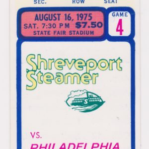 1975 WFL Shreveport Steamer ticket stub vs Philadelphia 8/16/1975