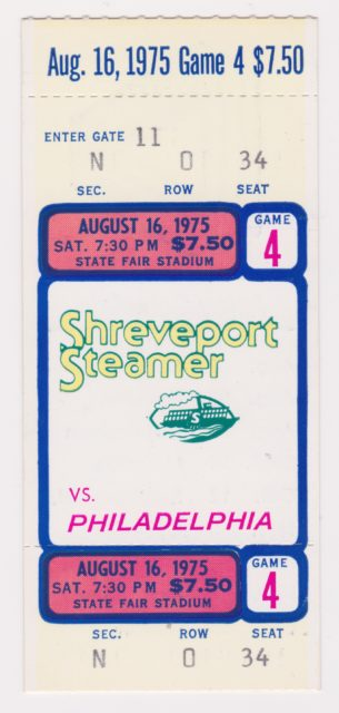1975 WFL Shreveport Steamer ticket stub vs Philadelphia
