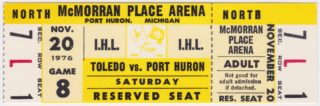1976 Port Huron Flags ticket stub vs Toledo