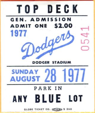 1977 ticket stub from Steve Garvey's 5-5-5-5 game