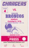 1978 San Diego Chargers ticket stub vs Broncos