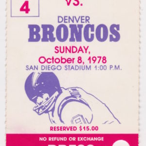 1978 San Diego Chargers ticket stub vs Denver Broncos 10/8/1978