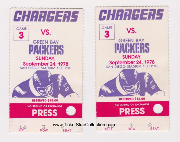 1978 San Diego Chargers ticket stub vs Packers for sale
