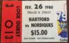 1980 Quebec Nordiques ticket stub vs Hartford
