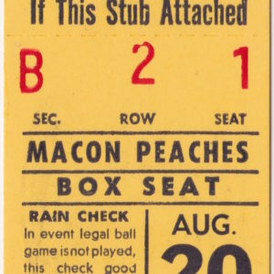 1981 Macon Peaches ticket stub 8/20/1981