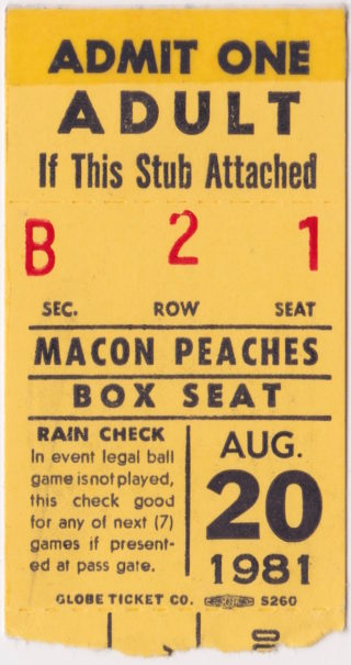 1981 Macon Peaches ticket stub for sale