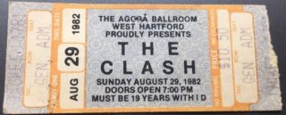 1982 The Clash ticket stub Hartford