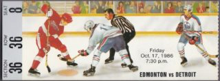 1986 Edmonton Oilers ticket stub vs Detroit