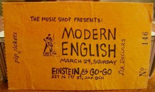1986 Modern English ticket stub Jacksonville
