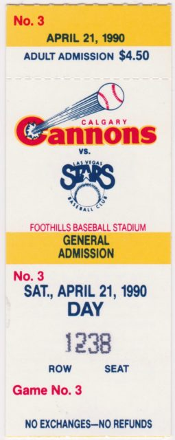 1990 Calgary Cannons ticket stub vs Las Vegas