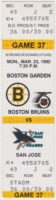 1992 Boston Bruins ticket stub vs San Jose Sharks