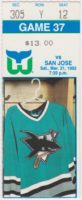 1992 Hartford Whalers ticket stub vs San Jose Sharks