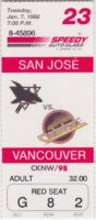 1992 Vancouver Canucks ticket stub vs Sharks