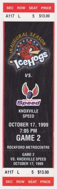 1999 Rockford IceHogs ticket vs Knoxville Speed