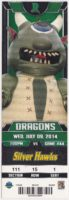 2014 Dayton Dragons ticket stub vs Silver Hawks