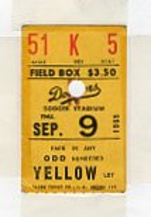 1965 Koufax Perfect Game ticket stub