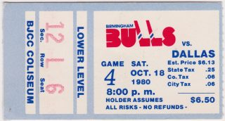 1980 Birmingham Bulls ticket stub vs Dallas Black Hawks