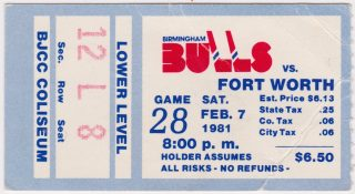 1981 Birmingham Bulls ticket stub vs Fort Worth Texans