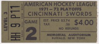 1972 AHL Cincinnati Swords playoff ticket stub vs Hershey Bears for sale
