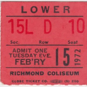 1972 AHL Richmond Robins ticket stub for sale