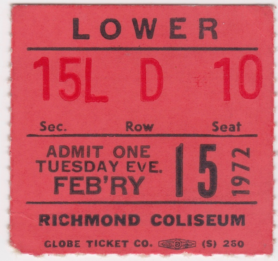 1972 AHL Richmond Robins ticket stub vs Hershey